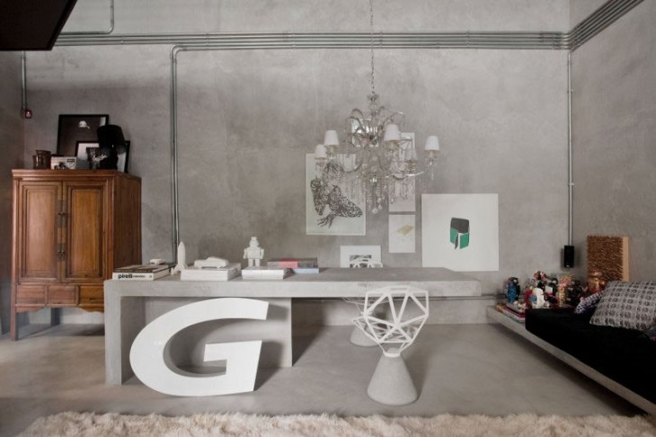 Modern-Industrial-Home-Office-Design-with-Concrete-Desk